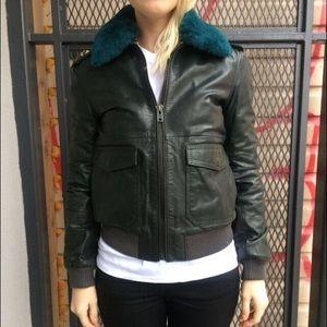 BLK DNM Jackets & Blazers - Blk Denim Shearling Leather Bomber Jacket