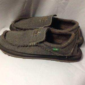 Sanuk Shoes - SANUK Sunbrella grey canvas slip ons. ba86db097