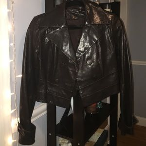 Cynthia Steffe Brown leather crop jacket