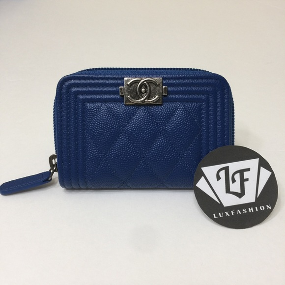 5e4bc439c1b3 CHANEL Bags | Boy Zip Around Coin Card Holder Wallet Blue | Poshmark