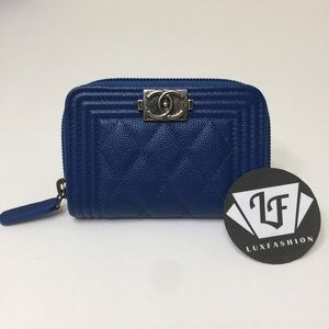 352313c4a9bcc6 CHANEL Bags | Boy Zip Around Coin Card Holder Wallet Blue | Poshmark