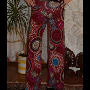 BohoMoho Pants - Burgundy, teal, red, flowers, circles, boho pants