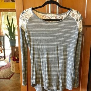 Pink Rose Tops - Gray striped t- shirt with lace inserts