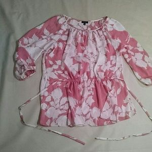 Talbots pink cream floral chiffon blouse