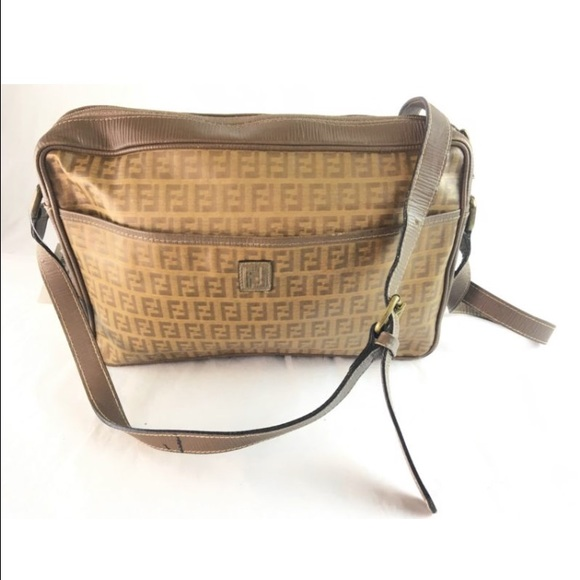 65a280e1b630 Fendi Handbags - Fendi Vintage Brown Logo Crossbody Bag Vintage
