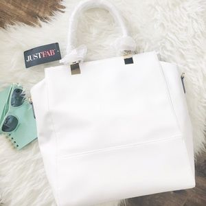 JustFab Handbags - nwt//just fab • large white tote