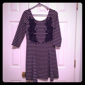NWT Free People M Stretch Dress Lace Navy Striped