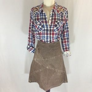 Billabong brown corduroy a-line patchwork skirt