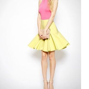 ASOS Yellow Midi Skirt with Drop Peplum Hem