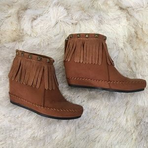 Mossimo Supply Co Shoes - Mossimo Studded Fringe Wedge Ankle Boots 7.5