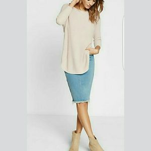 Express Sweaters - Express Circle hem Sweater in Heather Blush