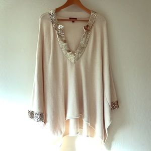 bebe Sweaters - bebe Champagne Sequin Beige Poncho Style Top