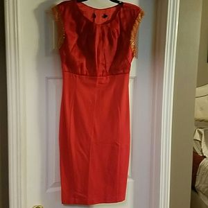 Ted Baker red fitted bodycon with gold