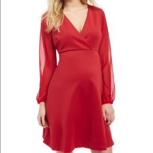 Destination Maternity Dresses & Skirts - Red Sheer Sleeve Destination Maternity Dress