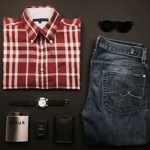 Tommy Hilfiger Other - Tommy Hilfiger Red Plaid Dress Shirt