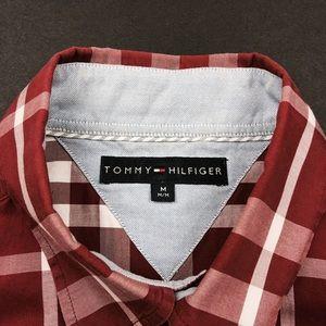 Tommy Hilfiger Shirts - Tommy Hilfiger Red Plaid Dress Shirt