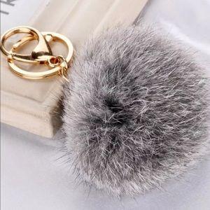 Other - Faux Fur Pom Pom Key Ring/Bag Charm NWOT