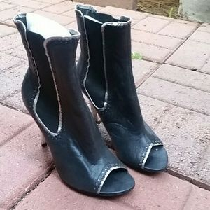 Open toe high heel ankle booties NEW LEATHER!