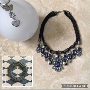 Blue Statement Necklace & Gunmetal Bracelet