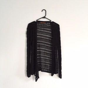 Belldini Sweaters - Belldini black silk blend crochet cardigan