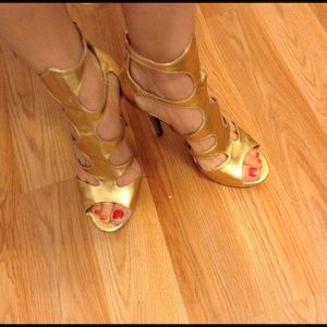 Anna Michelle gold strapped heels 9