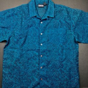 Anxious Shirts - ANXIOUS Men's Teal Sheer Patterned Button Up
