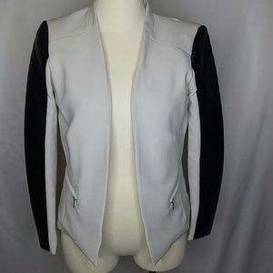 H&M blazer with faux leather strips