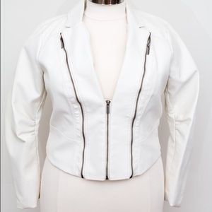Jackets & Blazers - Manifesto White Faux Leather With Zipper Detail