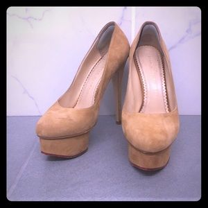 Charlotte Olympia Suede Sundance Dolly in Wheat