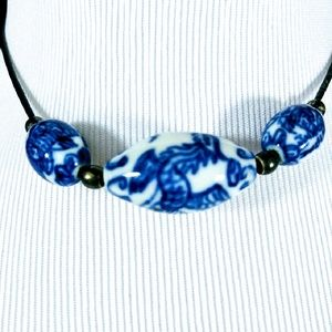 Celadon Blue and White Ceramic Choker