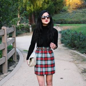 💐HP {j. crew} • plaid wool blend city mini skirt