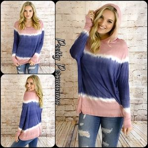Pretty Persuasions Tops - NWT Tie Dyed Long Sleeve Oversized Hooded Top