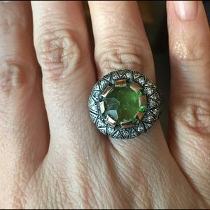Ottoman oxidized 925 silver & green quartz ring