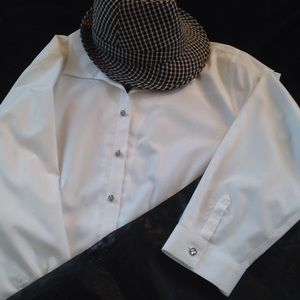 Catherine's white button-down shirt