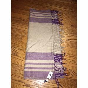 Gap super plush tan and purple plaid scarf NWT