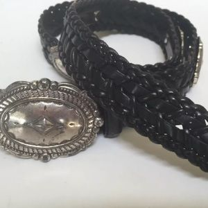 Brighton Woven Black Leather Belt