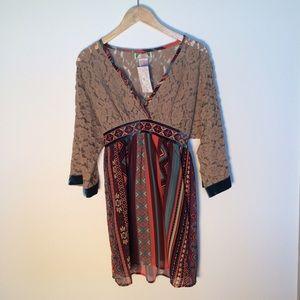 Flying Tomato Tops - Flying Tomato Lace Velvet Colorful Tunic/Dress NEW