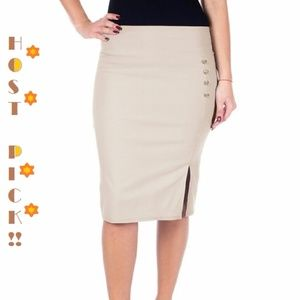 Pencil Skirt w. Button & Slit, d4024, Light Khaki