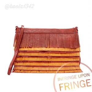 Pink Haley Handbags - FUNKY FRINGE CLUTCH Layered w/Rich Brown Tones...
