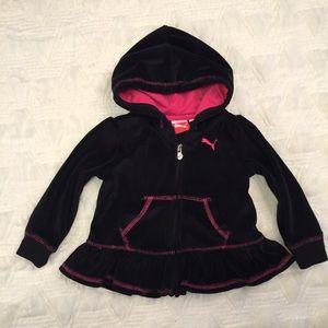 Puma Other - Puma Girls Velour Black & Pink Jacket Size 18M