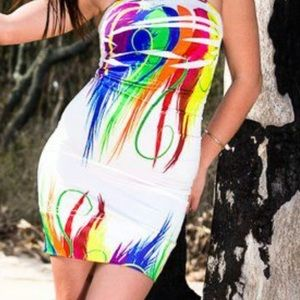 Other - White/ colorful strapless dress