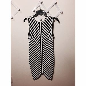 Bec & Bridge Dresses & Skirts - Reversible black and white striped midi bodycon
