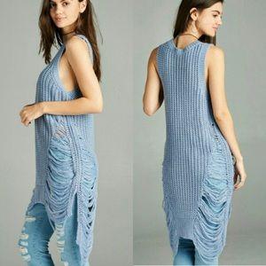 Fashionomics Sweaters - DISTRESSED SLEEVELESS SWEATER TUNIC