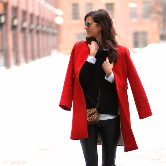 667629bfc11 Red Midi Boxy Winter Peacoat Coat Medium. M 5892b248c6c795cc2000a072
