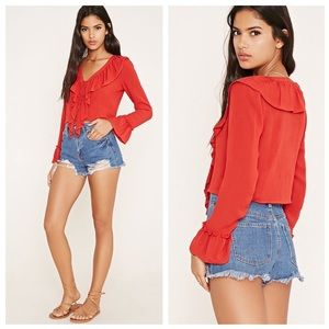 Ruffled Lace-Up Top
