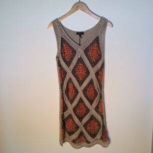 Cecico Dresses & Skirts - Tan and Orange Geometric Crochet Dress NEW Boho