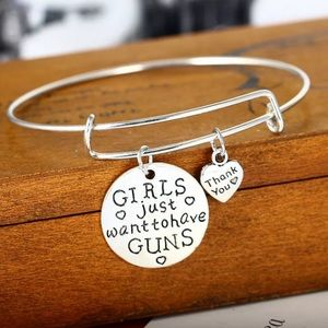 Camo Jewelry - Girls just want to have guns bangle bracelet NEW