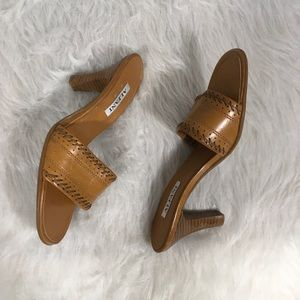 Alfani Shoes - Alfani Camel Embroidered Leather Slim Heel Sandals