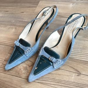Coach Shoes - Coach blue suede sling back heels