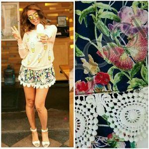 LF Dresses & Skirts - NWT LF Navy Floral Crochet Hem Skirted Shorts